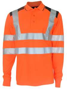 GUARD+ Poloshirt langarm bedrucken Unisex - Orange / Marineblau