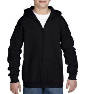 Heavy Blend Youth Full Zip Hooded Sweat Black