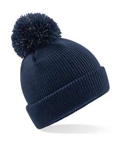 Junior Reflective Bobble Beanie French Navy