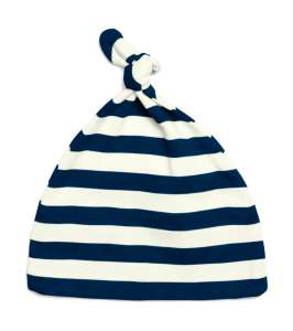 Baby Striped 1 Knot Hat White/navy