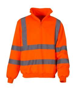 Fluo 1/4 Zip Sweat Shirt Fluo Orange