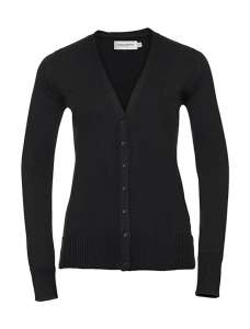 Ladies` V-Neck Knitted Cardigan Black