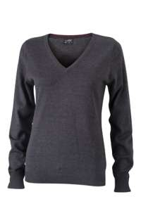 Ladies' V-Neck Pullover Anthracite-melange