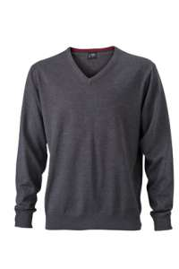 Men's V-Neck Pullover Anthracite-melange