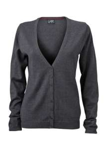 Ladies' V-Neck Cardigan Anthracite-melange