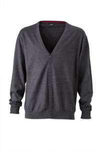 Men's V-Neck Cardigan Anthracite-melange
