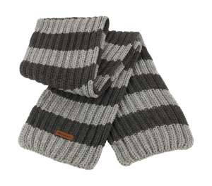 Chunky Knit Stripe Scarf Grey