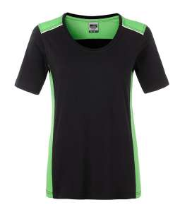 Ladies' Workwear T-Shirt-Level 2 Black/lime-green
