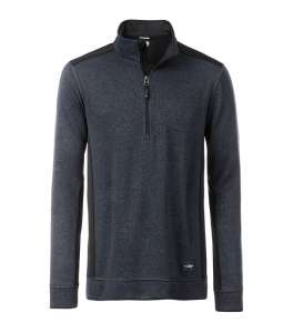 Men's Knitted Workwear Fleece Half-Zip Carbon-melange/black
