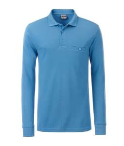 Men's Workwear Polo Pocket Longsleeve Aqua