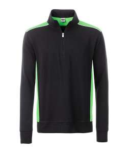 Workwear Half-Zip Sweat-Level 2 Black/lime-green