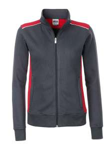 Damen Arbeits Sweatjacke bedrucken -  Carbon/red