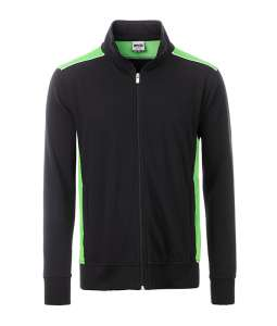 Men's Workwear Sweat Jacket-Level 2 Black/lime-green
