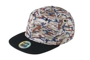 6 Panel Crown Printed Pro Cap Camouflage/black